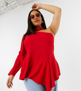 Simply Be asymmetric one shoulder top in red