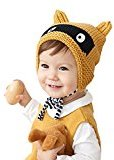 FEITONG Baby Boy Girl Cap Knitted Crochet Ear Print Beanie Winter Warm Cap (yellow)