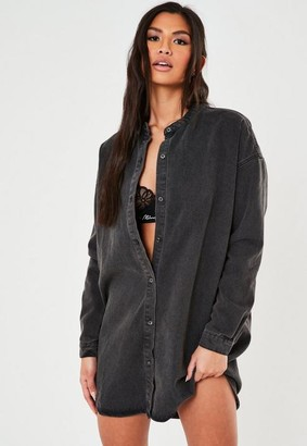 Missguided Black Denim Grandad Collar Shirt Dress