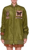 Valentino Patch-Embellished Taffeta Bomber Jacket, Olive