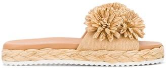 Prada Floral Applique Slide Sandals
