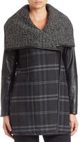 Vera Wang Faux Leather-Sleeve Plaid Coat