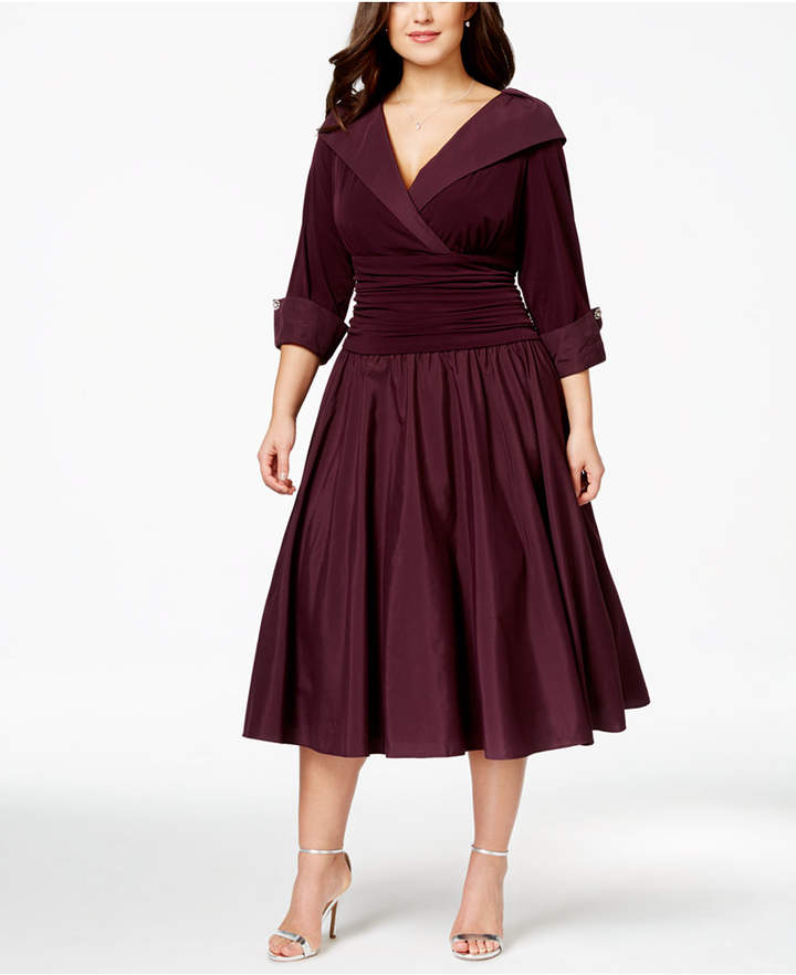 Plus Size Portrait Collar A-Line Dress