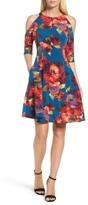 Maggy London Women's Cold Shoulder Fit & Flare Dress