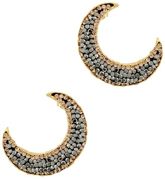 Soru Jewellery Notte Grey Crystal 18ct Gold-plated Moon Earrings