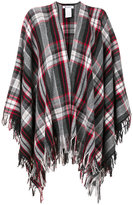 Dondup plaid fringed poncho