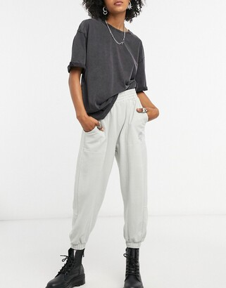 Bershka oversized jogger in grey