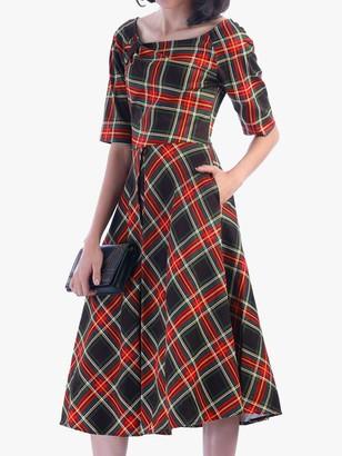 Jolie Moi Check Print Swing Dress, Green/Red