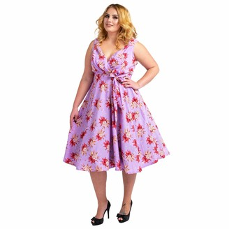 Miss Lavish London Women's Plus Size Dresses Retro Floral Rockabilly 40s and 50s Vintage Fashion [CREAM-20]