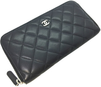 Chanel Black Quilted Leather Round Zipper Long Wallet