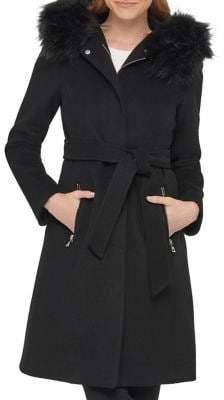 Karl Lagerfeld Paris Luxe Wool-Blend Faux Fur-Trim Wrap Coat