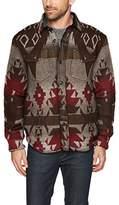 True Grit Men's Vintage Blanket Print Long Sleeve Two Pocket Shirt Jacket, Olive and Black Taos, M