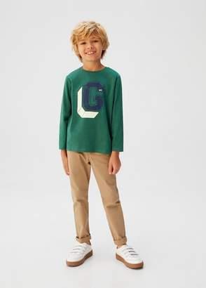 MANGO Logo print t-shirt khaki - 6 - Kids