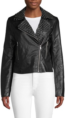 Bagatelle Embellished Faux Leather Moto Jacket