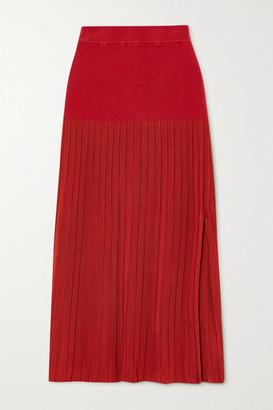 Altuzarra Dean Pleated Stretch-knit Midi Skirt - Red