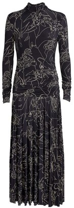 Victoria Victoria Beckham Printed Pleated Dress