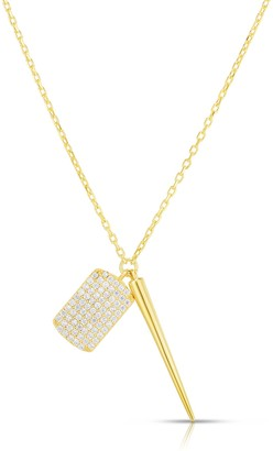 Sphera Milano 14K Gold Plated Sterling Silver Spiked CZ Charm Necklace