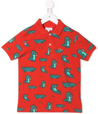 Lacoste Kids crocodile print polo shirt