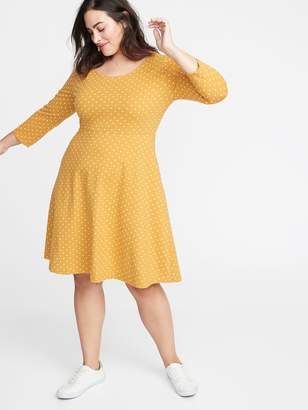 Old Navy Fit & Flare 3/4-Sleeve Plus-Size Jersey Dress