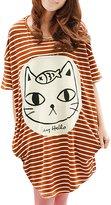 Allegra K Women Stripe Batwing Sleeve Oversize Tunic Tops T-shirt XS