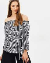 Karen Millen Striped Bardot Top
