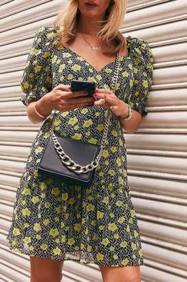 Topshop Womens Floral Print Wrap Mini Tea Dress - Multi