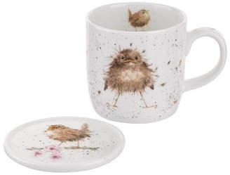 "Royal Worcester Wrendale 11 oz. Bird Mug & Coaster ""Flying the Nest"""