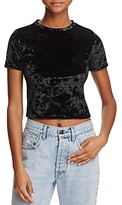 Alice + Olivia Jazmine Crushed-Velvet Cropped Top