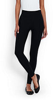 Lands' End Women's Petite Ponté Ankle Zip Leggings-Black