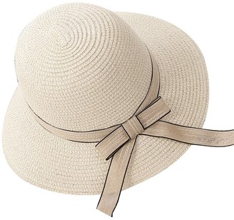 Gladiolus Ladies/Girls Summer Sun Hat/Straw Hat/Panama Hat/Beach Hat with Bowknot or Ribbon Adult Beige with Ribbon