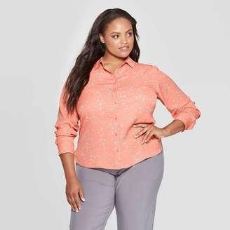 Ava & Viv Women's Plus Size Floral Print Long Sleeve Collared Button-Up Blouse - Ava & VivTM Blush