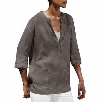 Tuduz Blouse Blouses Women TUDUZ Ladies Plus Size Vintage Pure Color V-Neck Pocket 3/4 Sleeve Easy Tops Blouses(Khaki XXL)