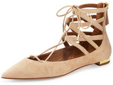 Aquazzura Belgravia Suede Lace-Up Flat, Nude