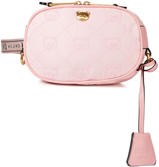 Moschino Leather-trimmed Embroidered Quilted Shell Belt Bag