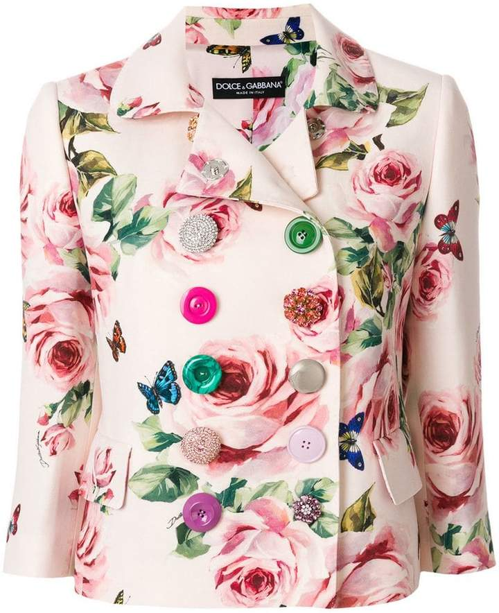 Dolce & Gabbana double breasted rose print blazer