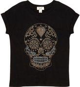 River Island Mini girls black studded skull t-shirt