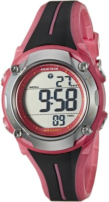 Armitron Sport Women's 45/7063PNK Digital Chronograph Black and Pink Resin Strap Watch