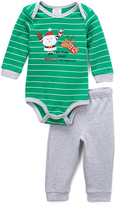 Baby Essentials Green & Gray 'Relatives' Holiday Bodysuit & Pants - Infant