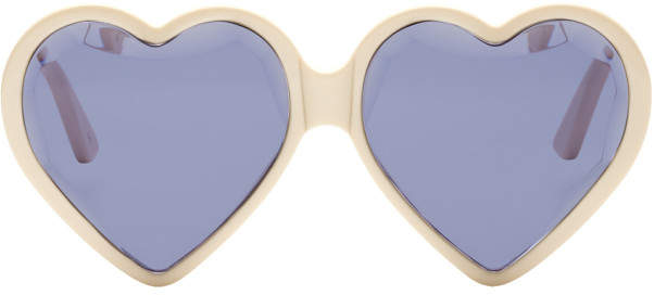 Gucci Off-White Heart Sunglasses
