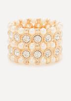 Bebe Faux Pearl Crystal Bracelet