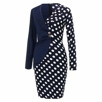Moent Dress Moent Fashion Women Long Sleeve Buttons Polka Dot Patchwork Bodycon Blazer Work DressDressing Gown Covers Long UK Clearance Party Elegant Wedding Plus Size Black