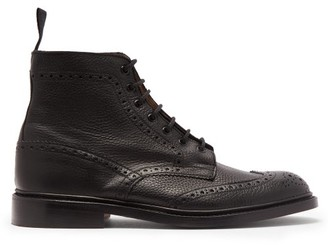 Tricker's Stow Grained-leather Ankle Boots - Black