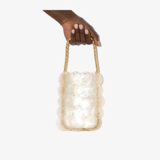 VANINA neutral Casse-Noisette sequin clutch bag