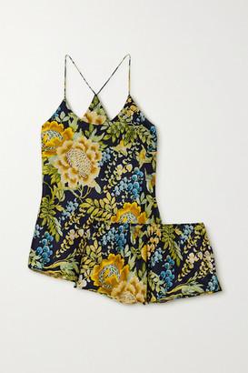 Olivia von Halle Bella Floral-print Silk-satin Pajama Set - Navy