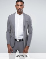 Asos Tall Super Skinny Suit Jacket In Grey
