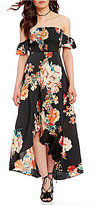 Band of Gypsies Off-the-Shoulder Smocked Floral Maxi Dress