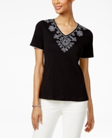Alfred Dunner Petite Garden Party Embellished Scroll Top