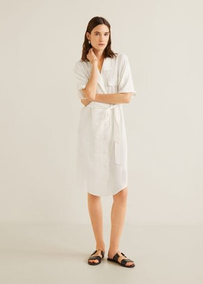 MANGO Linen-blend shirt dress off white - 6 - Women