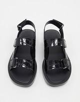 Who What Wear Axel flatform sandals in black croc