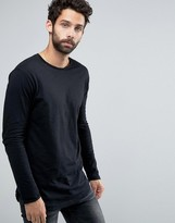 Pull&Bear Long Sleeve T-Shirt In Black